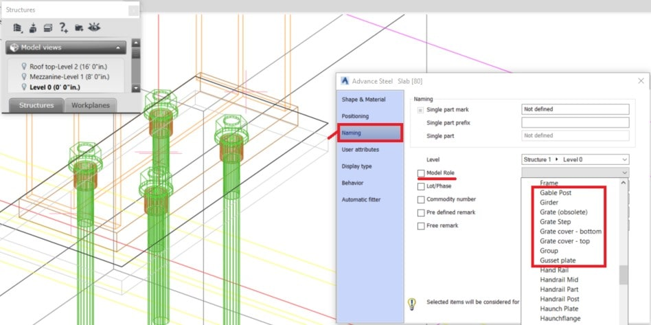 How to add a grout model role to a concrete element in advance Steel pict1