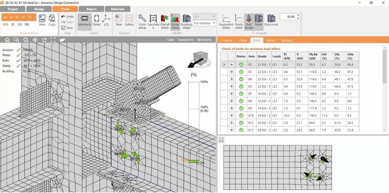 Prüfung von Stahlverbindungen mit Revit- und Advance Design Connection